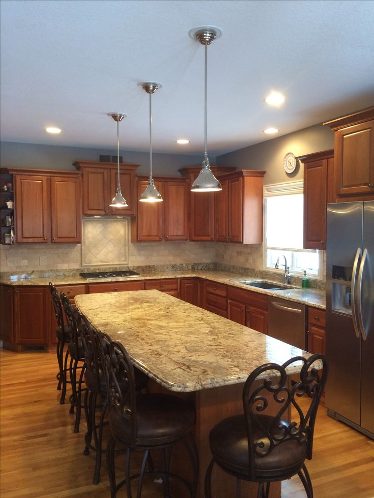 My finished kitchen! Cherry cabinets, tumbled travertine ... on Typhoon Bordeaux Granite Backsplash Ideas  id=52016