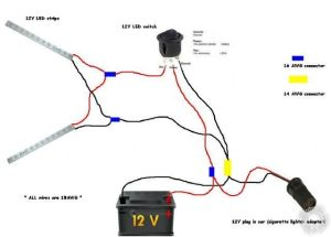 connecting led strip to 12 volt car battery power supply wiring diagram  Google Search | Bus Ta