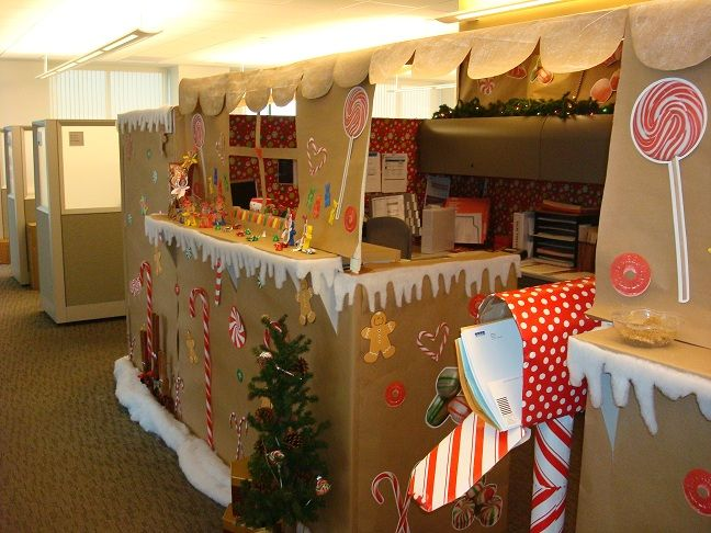 Our Gingerbread House Office Cubicle . . . Yes, We Won The