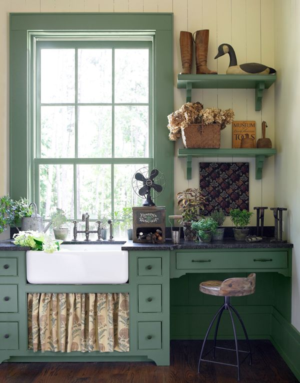 farmhouse kitchen love the soft green paint color the curtain under the sink rustic on farmhouse kitchen wall colors id=23725