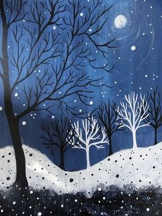 elementary line art projects | especially love the white trees in the bkd and the black in the …