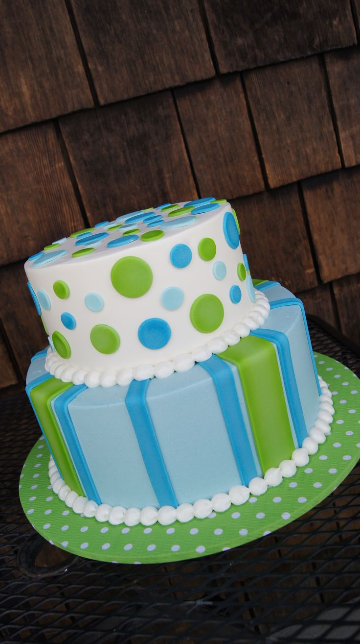 Tiered Green And Blue Polka Dot And Stripes Cake Cakes