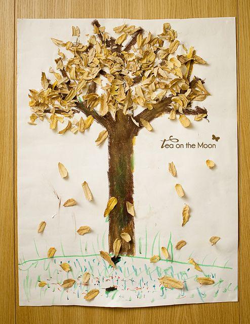 collage con hojas