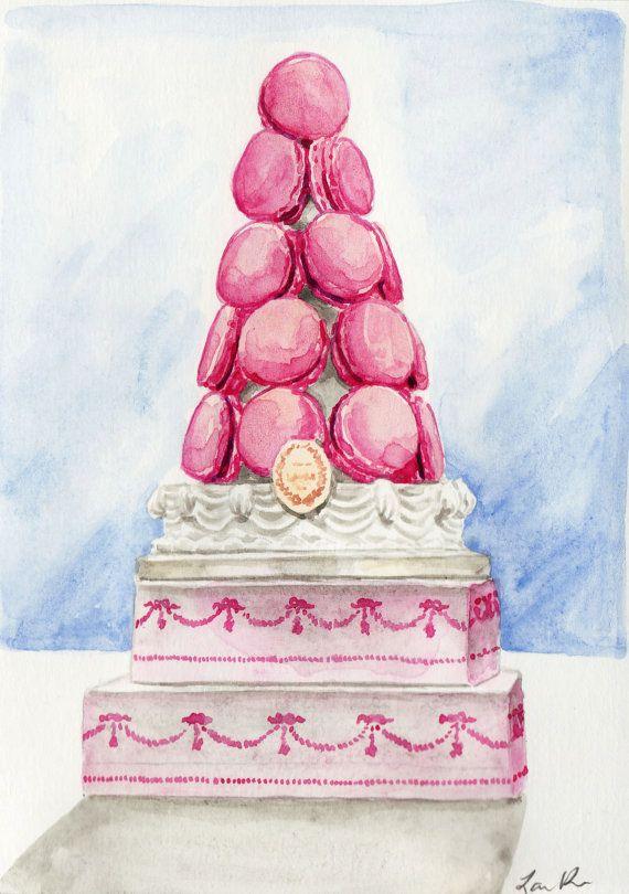 Laduree Macaron Tower In Pink ORIGINAL Watercolor 5 X 7