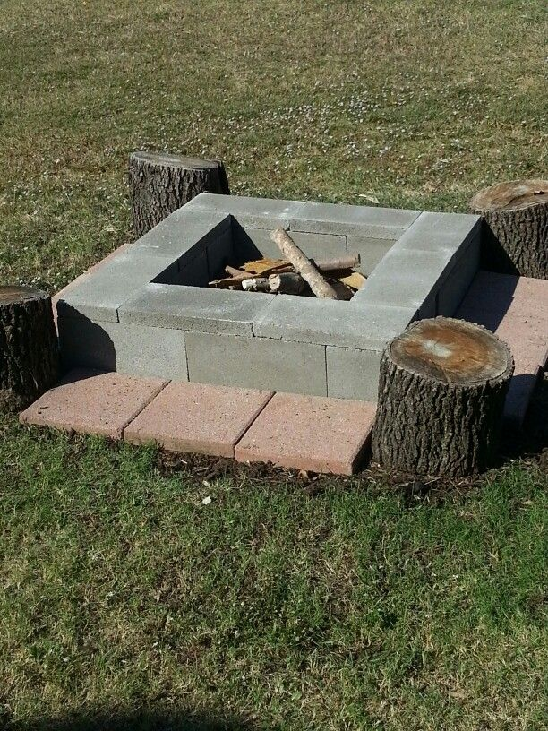 Easy, movable DIY fire pit! 8 cinder blocks-$1.45 ea, 8 ... on Simple Cinder Block Fireplace id=85374