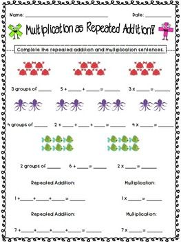 Repeated Addition Multiplication And Addition Worksheets