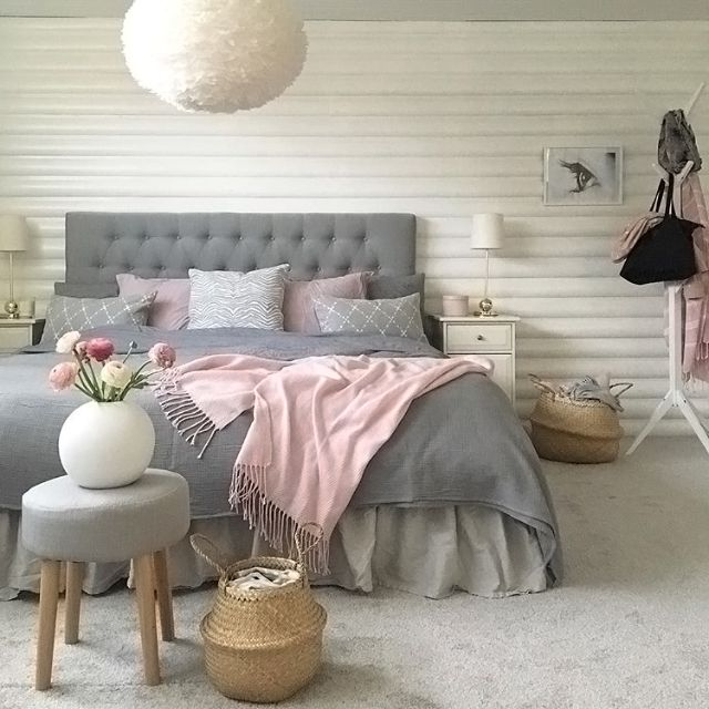 A Gorgeous Grey White And Pink Bedroom By Room Interior Lisa