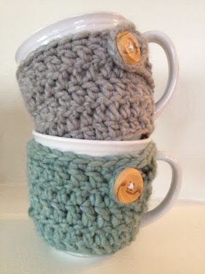 crocheted mug cozies – perfect for winter :)  For when I actually learn how to k