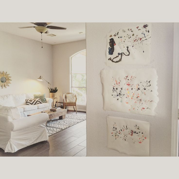 Displaying Kids Art Paint And Leaves White Rooms