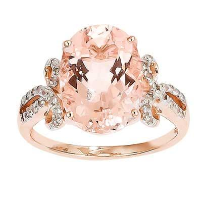 Oval Morganite and 1/8 CT. T.W. Diamond Ring in 14K Rose Gold – Size 7 – Zales