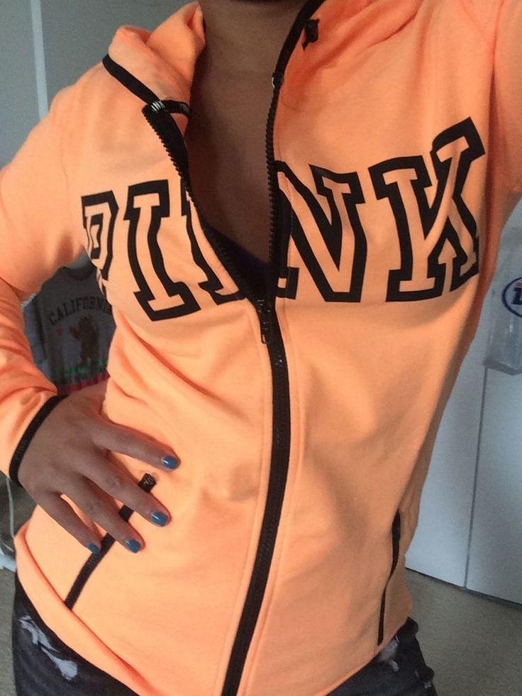 Victorias Secret Pink Athletic Neon Mango Fleece Full Zip Sweater Jacket XS S | eBay