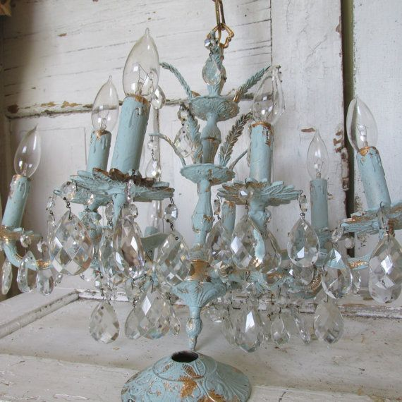 Blue Crystal Chandelier Hand Painted Vintage Shabby Chic Lighting 10 Arm 71 Prisms Ceiling Fixture Home Decor Anita Spero