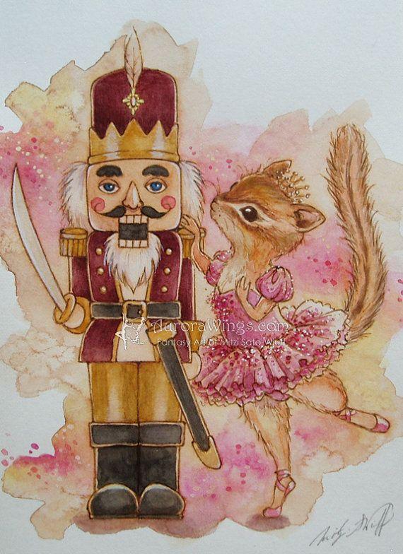 Original Art The Nutcracker With Chipmunk Ballerina