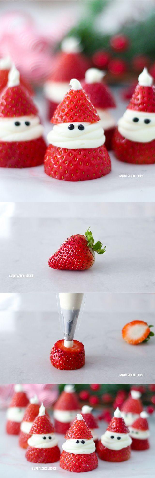 3 Ingredient Strawberry Santas For Christmas ADORABLE