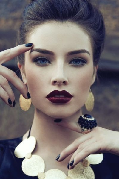 I love the natural eye, and bold port colored lip. This is a great look to try for work. Try with a simple pulled back hair style so that the lip color doesnt overwhelm your look.: