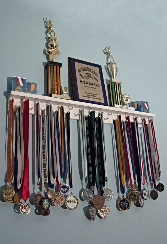 Running Medal Holder and Trophy Shelf by MedalAwardsRack on Etsy, $65.99