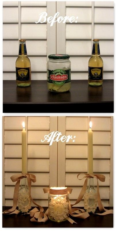 Linen, Lace, & Love: DIY: Beer Bottle Candle Stick Holders and Pickle Jar Votive