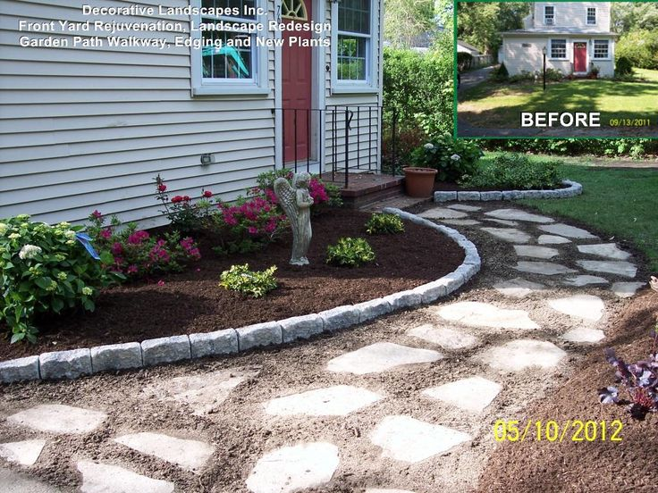 Front Yard Landscape Construction Project With Garden Path