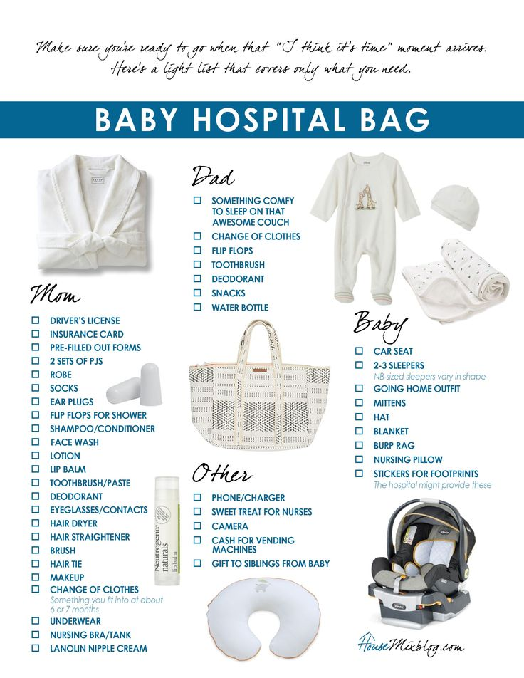 What to pack in your baby hospital bag – printable checklist