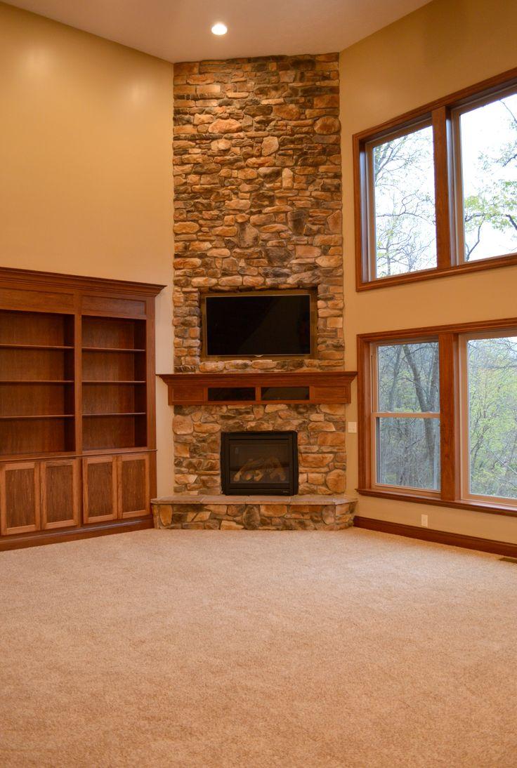 Floor To Ceiling Corner Stone Fireplace Corner Fireplace