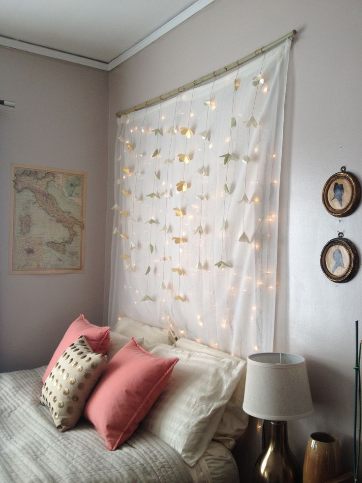 Christmas Tree Light Headboard Gthang A Curtain Rod With Sheers And Hanging Clear Xmas Lights