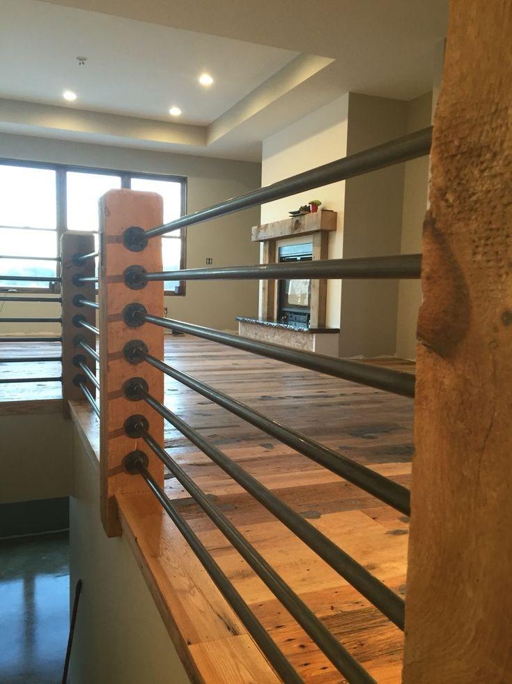 Black Gas Pipe Rails Reclaimed Rustic Oak Barn Wood | Gas Pipe Stair Railing