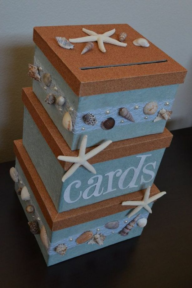 beach wedding themed wedding card box holder on Etsy, $95.00: