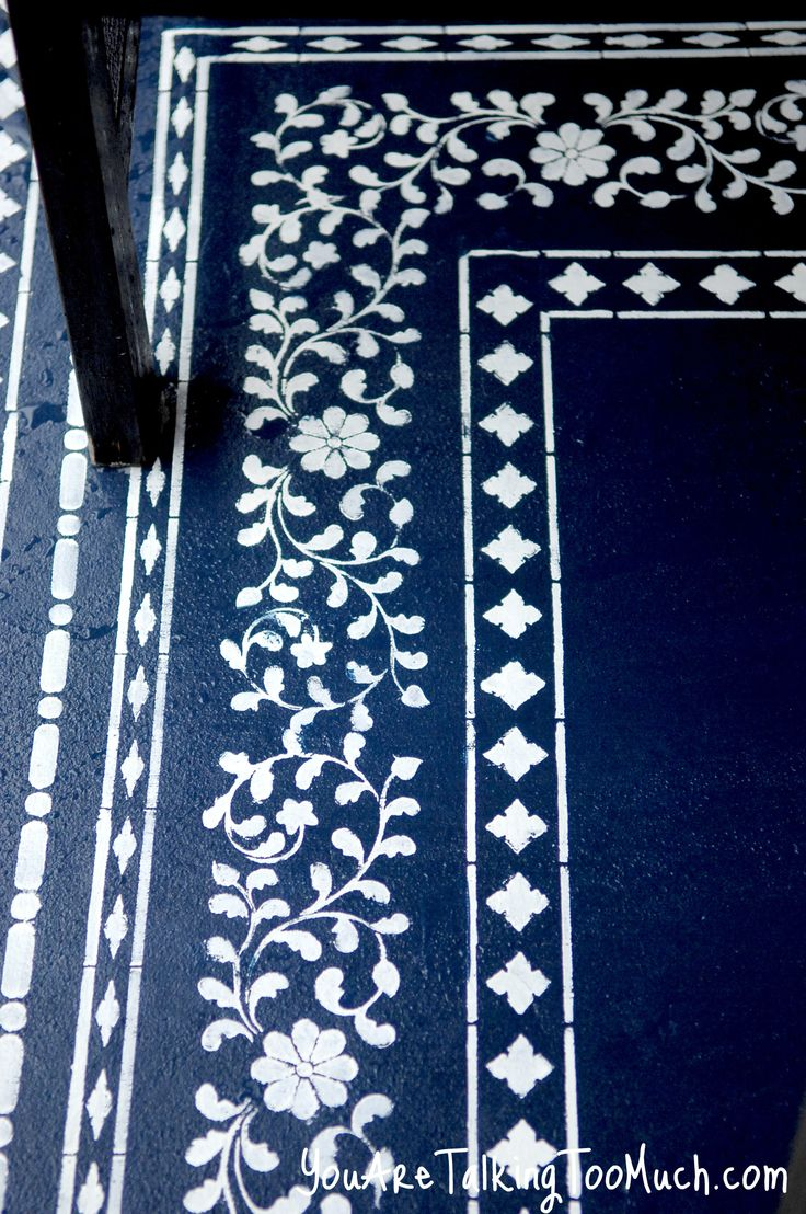 "Morrocan style ""rug"" – painted finish for outside floor.  (would also work well inside on floor-boards)"