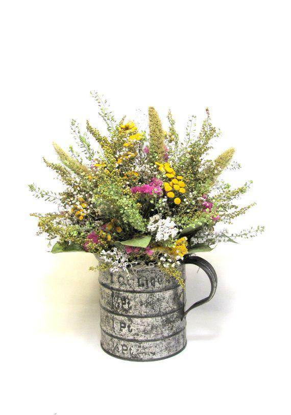 Primitive Floral Arrangement In Vintage Measuring Cup