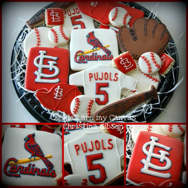 St.Louis Cardinals baseball cookies – Just have to switch Yadi for Pujols
