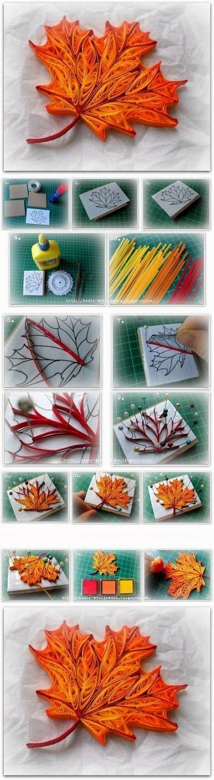 quilling a maple leaf. This makes me want to try quilling more than anything els