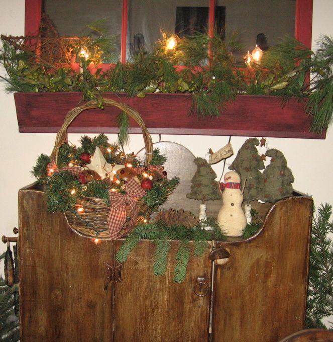 Prim Christmas Centerpieces