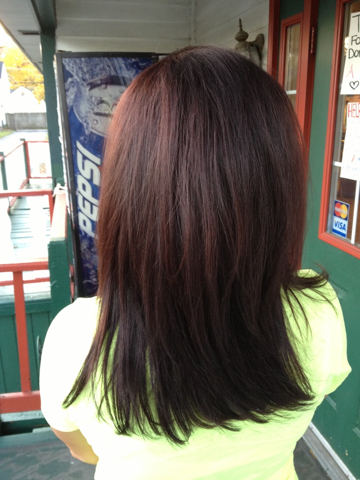 My Work Long Layers Wella 475 Which Is A Deep Brown