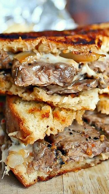 Philly Steak Grilled Cheese. Soooo good! I cut a rump roast into slices and covered with garlic, montreal steak seasoning, salt &