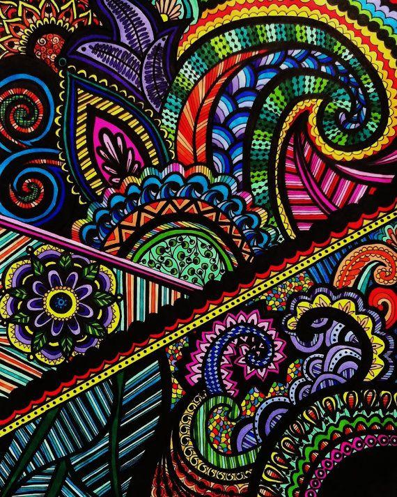 Rainbow Henna Mehndi Drawing 8x10 Print by ViewFromTheEdge ...