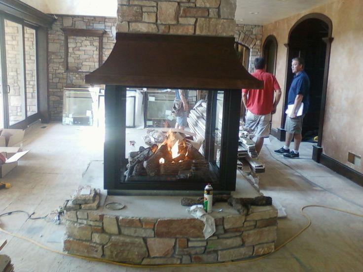 Custom 4 sided gas fireplace dream home pinterest