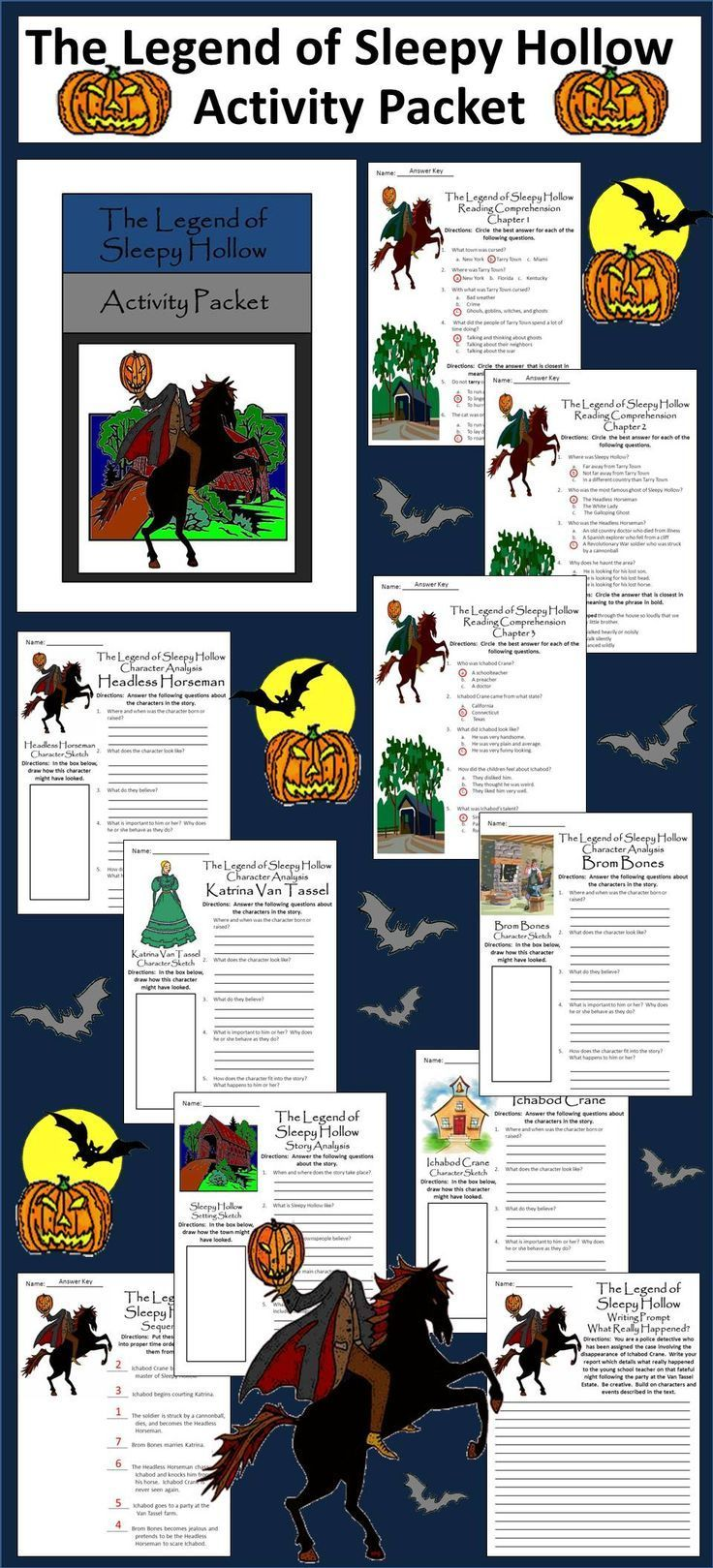 Sleepy Hollow Halloween Activity Packet Bundle