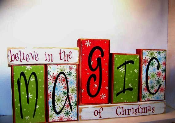 """Primitive wood block Sign saying """"believe in the MAGIC of Christmas"""". $28.95, vi"""