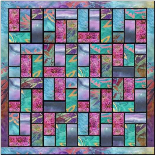 Stained glass quilt pattern using batiks -the black sashing really makes the fabrics zing. A simple method of adding 1/4″ sashing