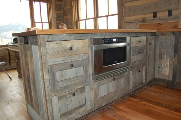 Recycled Barnwood Cabinets Kitchen Modern