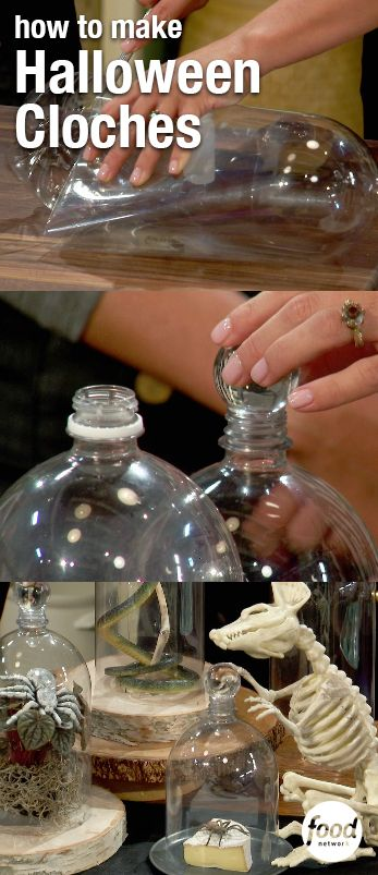 Turn empty two-liter bottles into a Halloween decoration or serving platter! Marcela cuts off the bottom o