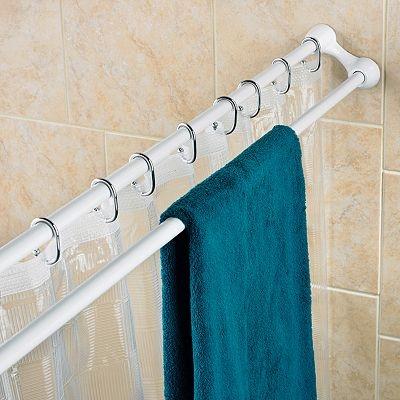 Shower Curtain Rod Amp Towel Bar White Space Saver This Shower Curtain Rod And Towel Bar Is A