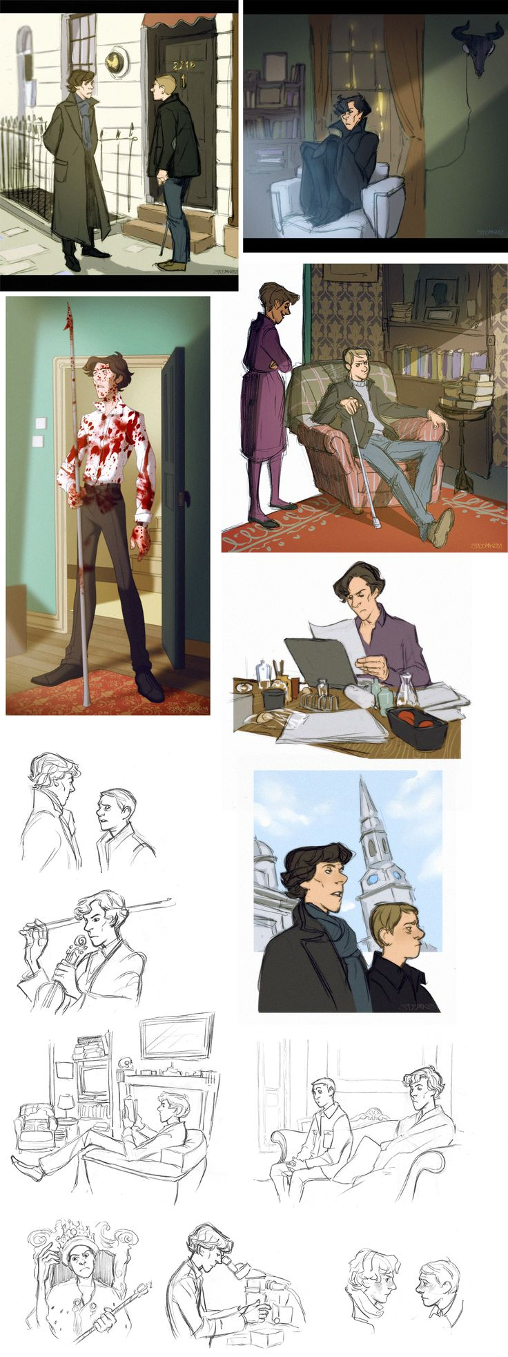 Some gorgeous, rather Disney-fied Sherlock fanart. I think this is probably my m