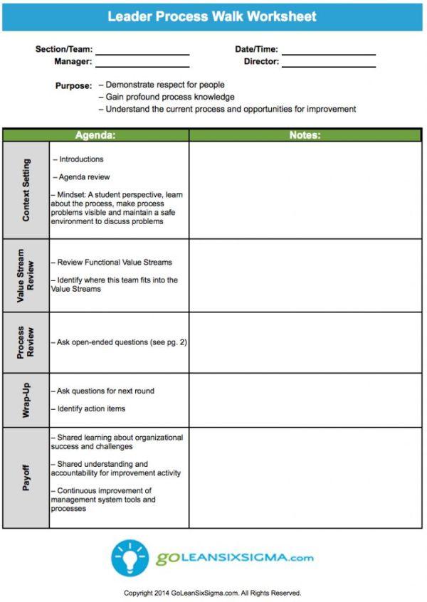 Leader Process Walk Worksheet - GoLeanSixSigma.com | Lean ...