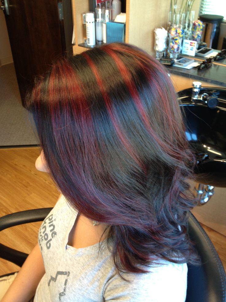 Red Highlights On Dark Hair Hairdo Me Pinterest