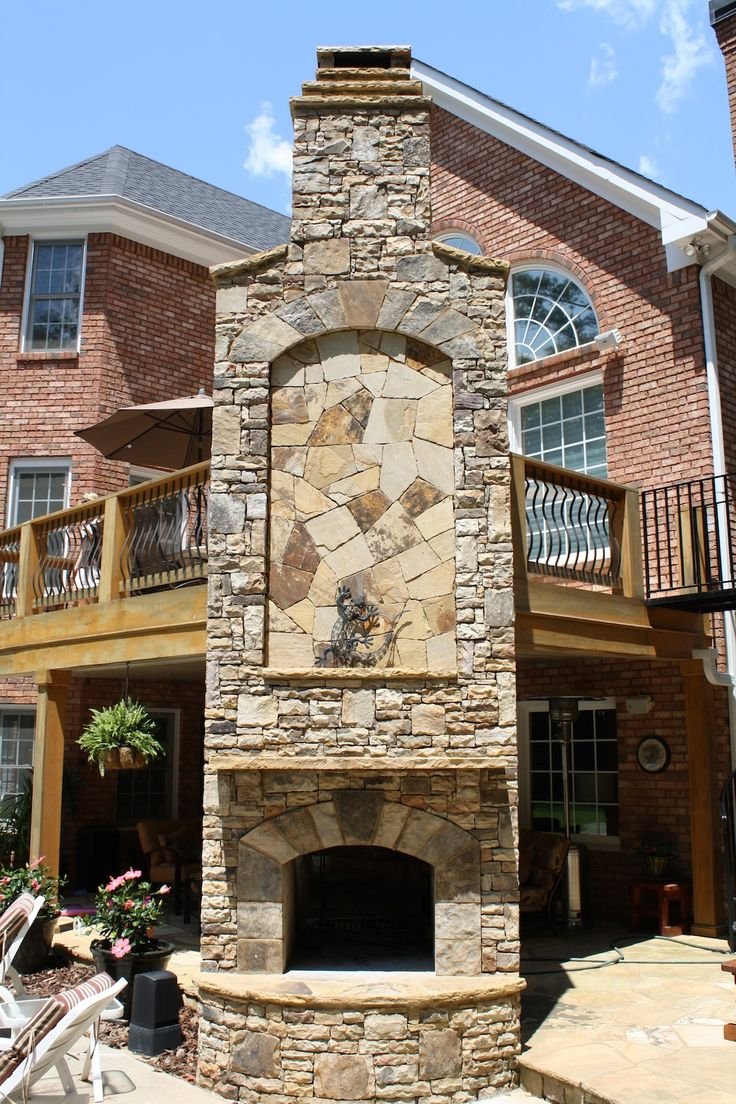 Two Story Stone Outdoor Fireplace Fireplaces And