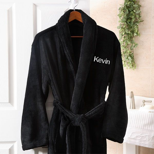 Personalized Black Fleece Robe For Men Super Soft And