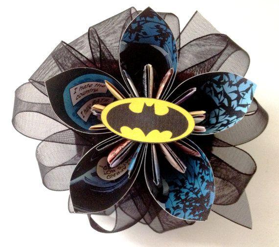 Batman Boutonnière or Hair Clip by NewZLynn on Etsy, $28.00: