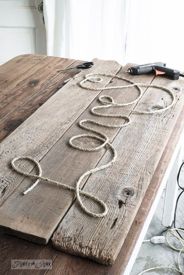 DIY rope sign on reclaimed wood in 5 minutes!