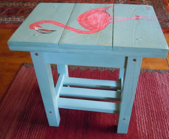 Pink Flamingo Solid Wood Patio Table Side Table Or Small